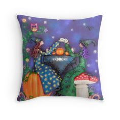 $27.50 #witch #witches #witchesteparty #teaparty #witchart #pillowcase #witchpillow #witchdecor Tea Party Witches love getting together by the light of the full moon. They pull up a toadstool or a pumpkin to sit on. They drink tea and hot chocolate from skully cups and a pumpkin teapot. Their cupcakes are topped with buttercream and cherries. Bats and crows love attending witch tea parties because there are always fun stories to be heard.
