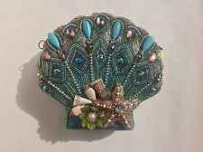MARY FRANCES COLORFUL SEA SHELL BEADED EVENING BAG BAGUETTE PURSE GORGEOUS FUN!
