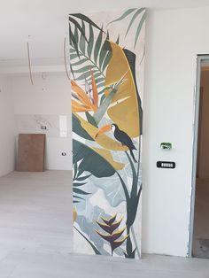Wall Painting Decor, Mural Wall Art, Diy Wall Art, Murals Street Art, Wall Art Designs, Wall Design, Deco Turquoise, Wall Drawing, Girl Bedroom Designs