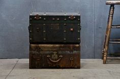 for office -- these are two expensive, but look for an old suitcase at fairfax flea ---- Old Victorian Leather Regalia Trunks : Modern50 Washington D.C. Antiques