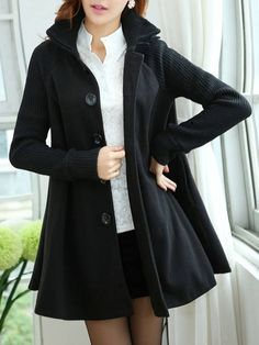 Comfortable High Neck Knit  Overcoat Overcoats from fashionmia.com