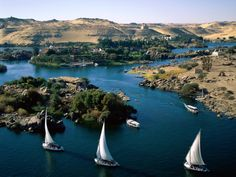The Nile River in Aswan, Egypt