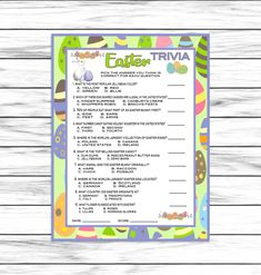 Easter Trivia Game, Easter Game, Trivia Game, Easter Party Game, Easter Printable Games, Easter Decor, Easter Dinner, Instant Download Easter Party Games, Dinner Party Games, Party Activities, Activity Games, Trivia Questions And Answers, This Or That Questions, Emoji Games, Trivia Games, Trivia Quiz