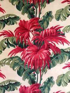 Spettacolare 40s cinese rosso tropicale Barkcloth di KimberlyZ