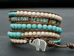Riverstone leather wrap bracelet -Turquoise - Sterling silver lucky elephant charm - hipster chic - boho jewelry