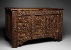 Chest, 1663–80  Attributed to William Searle (American, d. 1667) or Thomas Dennis (American, 1638–1706)  Ipswich, Massachusetts  White oak, red oak