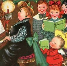 Vintage Christmas Capers Greeting Card Charlot Byj Cherub Piano Children EB6010