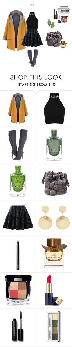 """Green winter details"" by clauxsanchex on Polyvore featuring moda, WithChic, Miss Selfridge, Michael Antonio, Chicwish, Accessorize, NARS Cosmetics, Burberry, Chanel y Estée Lauder"