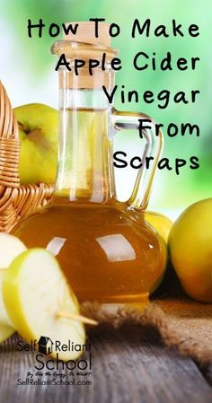 How to make homemade raw apple cider vinegar from apple scraps. #beselfreliant