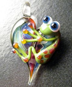 Glass Heart Frog Pendant Lampwork Charm Bead Boomwire Handmade Boro Jewelry E6 | eBay