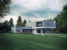 House M Visualization by Bertrand Benoit - Architectural Visualization &… Minimalist House Design, Minimalist Home, Modern House Design, Modern Houses, 3d Architectural Visualization, Architecture Visualization, Commercial Architecture, Modern Architecture, Facade House