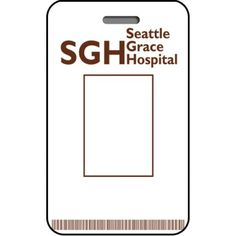 Seattle Grace Hospital ID Card Custom From The Identity Props Store Halloween Signs Easy