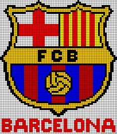 A55810 - friendship-bracelets.net Cross Stitching, Cross Stitch Embroidery, Cross Stitch Patterns, Pixel Art Foot, Barcelona Fc, Beading Patterns, Crochet Patterns, Image Pixel Art, Modele Pixel Art
