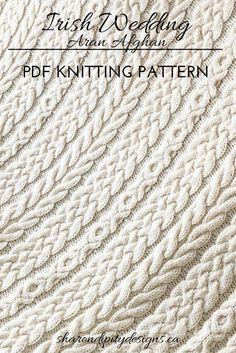 Knitting Pattern for the Irish Wedding Aran Afghan by Sharondipity Designs