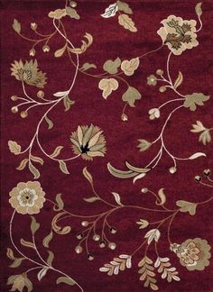Burgundy Branches Floral Transitional Area Rugs