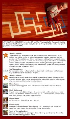 Round-up of Social OT/PT Pin For Discussion – Masking Tape Maze Pinned by @PediaStaff – Please Visit ht.ly/63sNt for all our pediatric therapy pins