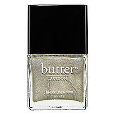 butter LONDON - 3 Free Nail Lacquer / Trustafarian - sage green with golden holographic finish