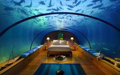 World Visits: Dubai Hotel Under Water Best Branded Luxury Hotel Underwater Hotel Room, Underwater Wallpaper, Underwater World, Dubai Hotel, Dubai Trip, Dubai Uae, Aquaman, Villas, Hotel Secrets