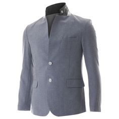 FLATSEVEN Mens Slim Fit 2 Button Stand Collar Single Breasted Linen blazer Jacket (BJ251)