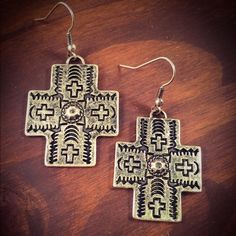 Antique Silver Stamped Cross Earrings Brand New Antique Silver Stamped Cross Earrings Jewelry Earrings