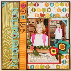 "Designing at My Creative Scrapbook Cute And Colorful School ""Kindergarten Girl"" Scrapbook Page.Cute And Colorful School ""Kindergarten Girl"" Scrapbook Page. School Scrapbook Layouts, Kids Scrapbook, Scrapbook Sketches, Scrapbook Paper Crafts, Scrapbook Supplies, Scrapbooking Layouts, Scrapbook Cards, Scrapbook Photos, Wedding Scrapbook"