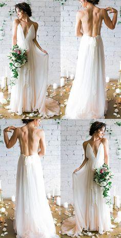 country white chiffon beach wedding dresses long, spaghetti straps a line wedding dress for bride, cheap v neck bridal gowns #wedding