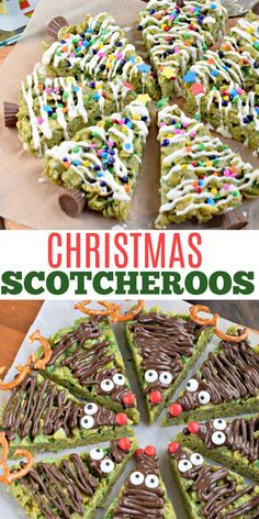 Fun, festive and full of chewy peanut butter taste, Holiday Scotcheroos are a must try! The kids will love helping you decorate these easy family friendly treats. Christmas Drinks, Christmas Treats, Christmas Baking, Christmas Holiday, Holiday Cookie Recipes, Holiday Cookies, Chocolate Treats, Chocolate Peanut Butter, Scotcheroos Recipe