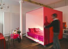 Crafting Private Sleeping Quarters in a Loft: The Bed Cube   Apartment Therapy