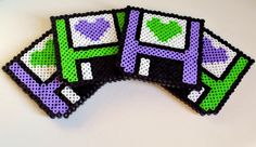 Floppy Disc Hearts Perler Bead Sprite Coaster Set. $9.50, via Etsy.