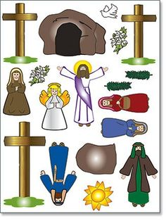 Easter story matching sequencing cards pop over to our site at religious easter gift he has risen christ resurrection scene 18 piece magnet set needzo religious gifts negle Image collections