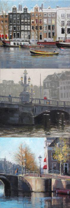 Small paintings of Amsterdam | oil on linen paintings by Richard van Mensvoort