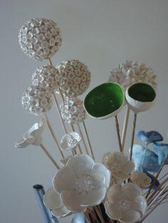 1 small Handcrafted ceramic clay pompom style alium flower wedding / bouquet | Bron's Ceramics | madeit.com.au