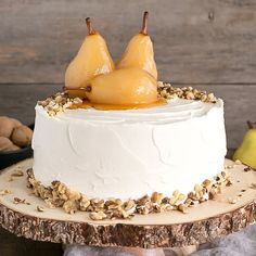 This Pear & Walnut Cake with Honey Buttercream is the perfect way to kick off the Fall season.
