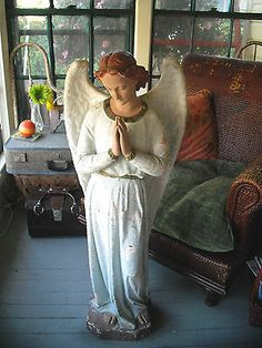 LARGE ANTIQUE/OLD CATHOLIC/RELIGIOUS/NATIVITY ANGEL CHALK WARE STATUE, IN MY EBAY STORE JUNK MANS GAL.