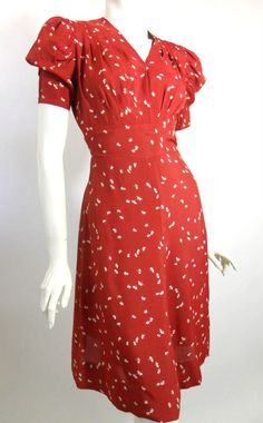 early 40s burgundy rayon swing dress, DCV
