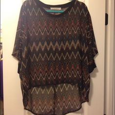 """SALEChevron Print Sheer Top Perfect for Fall! Cute chevron print. 3/4"""" dolman sleeves. High Lo hem. Slub knit at neckline & armband. Excellent condition. Only worn twice. Bought from Nordstrom. 100% polyester. Chloe K Tops"""