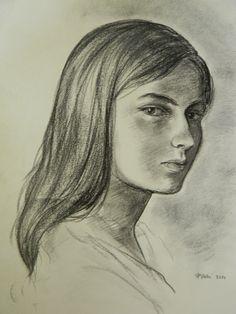 Rita Rinaldelli. Ritratto. Carboncino su carta