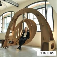 Elypsis en carton - cardboard furniture made in belgium - 520 EUR Cardboard Chair, Cardboard Design, Cardboard Sculpture, Cardboard Paper, Cardboard Crafts, Cardboard Playhouse, Cardboard Furniture, Art Furniture, Furniture Projects