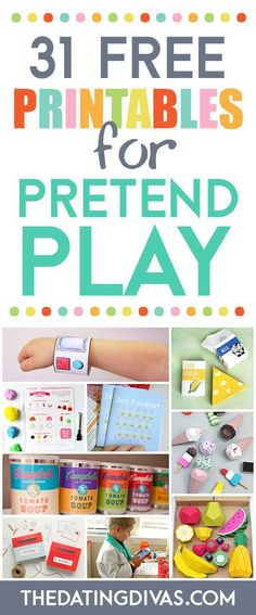 TONS of free printables for pretend play for kids. Everything from play food to restaurant menus to doctor play sets.