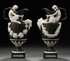 Pair of Wedgewood Solid Black Jasper Wine and Water Ewers, England, late 20th century