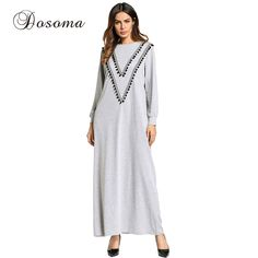 Muslim Women Maxi Dress Embroidery Ball Cotton Abaya Long Sleeve Robe Loose  Style Plus Size Jilbab Middle East Islamic Clothing beec242b723a