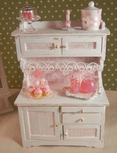 reminds me of the cabinet I had as a kitchen - only way cuter ~ miniature shabby kitchen - Google Search