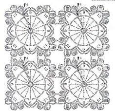 AS RECEITAS DE CROCHÊ: Grafico de squares para manta