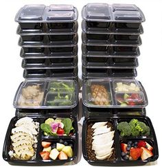 [20 Pack] 3 Compartment Meal Prep Containers BPA Free Por...