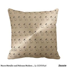 Nacre Metallic and Pelicans Modern Pattern