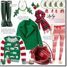 A fashion look from November 2015 featuring Ugly Christmas Sweater tops, Make + Model leggings и Hunter boots. Browse and shop related looks.