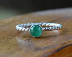 EMERALD Ring Green Gemstone Sterling Silver Ring - May Birthstone Stacking Ring Twisted Rope Ring
