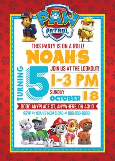 PAW Patrol Birthday Invitation by WestOnDesignSt on Etsy
