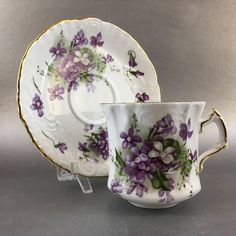 This is a lovely English tea cup made by The Spode Hammersley group. It is called Victorian violets and decorated with beautiful bold purple violets on a unique shape cup and embossed saucer. It is in excellent condition with no chips cracks or flea bites, please have a good look at the
