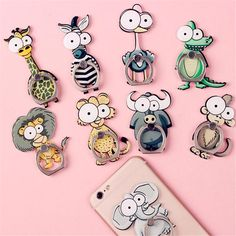 Cute Cartoon, Phone Holder, Stands, Lovely Animal Pattern ,mobile Finger Rings, Universal Metal Finger Ring, Mobile Phone Holder Stand